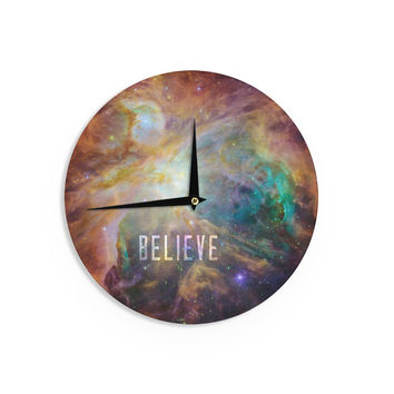 "Bruce Stanfield ""Orion Nebula Believe"" Blue Orange Wall Clock"