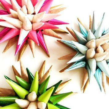 Handmade Colorburst Paper Star Urchin Magnets 12 by kissadesign