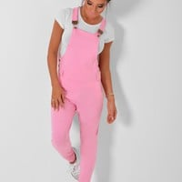 Lexia Pink Jersey Dungarees | Pink Boutique