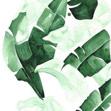 "20 x 30 ""Beverly III"" Tropical Banana Palm Leaves Watercolor Giclee Fine Art Print Poster"