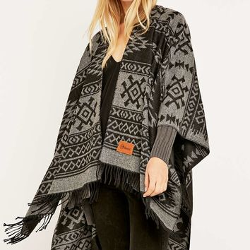 Kiboots Reversible Black Fringe Cape - Urban Outfitters