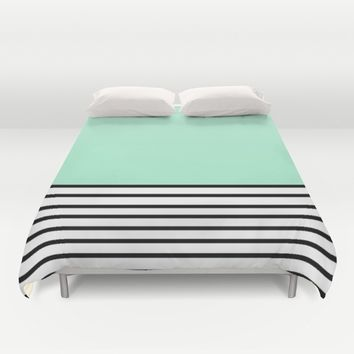 Fresh Mint Black and White stripes pattern Duvet Cover by Xiari