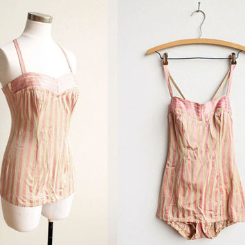 Vintage 1950s Catalina Pink Stripe Swimsuit / by NosillaVintage