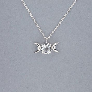 Triple Moon Goddess Necklace-Sterling Silver with Crystal Quartz