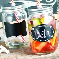Set of Four (4) 15-oz Chalkboard Mason Jar Beverage Cups ~ 4 Clear Glass Drink Cups with Metal Lid, Straw and Chalk Included
