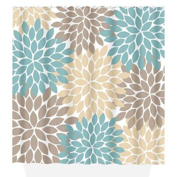 Flower SHOWER CURTAIN, Flower Bathroom, Brown Tan Aqua, Girl MONOGRAM Personalized, Floral Bathroom Decor, Bath Towel, Plush Bath Mat