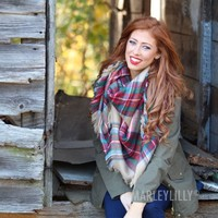 Christmas Plaid Blanket Scarf | Marley Lilly