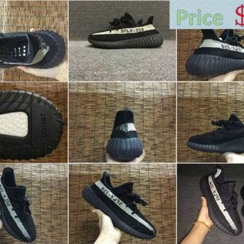 Newest New Trainers 2017 adidas Yeezy Boost 350 V2 Black White BY1604 Big Size 36-48 US 13 14 shoe