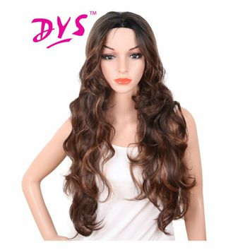 Deyngs 30 Inch Long Body Wave Brown Red Color Wigs For Black Women High Temperature Naturally Synthesis Female Hair With Bangs