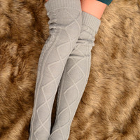 Thigh High Cable Knit Socks - Grey