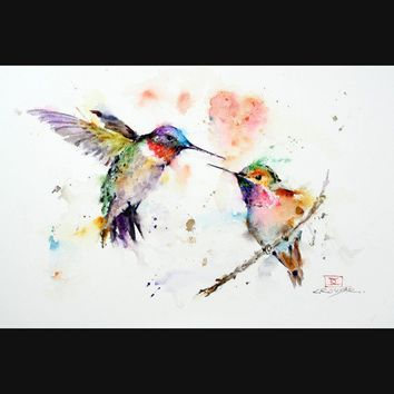 HUMMINGBIRDS 8 x 12 Watercolor Print by Dean by DeanCrouserArt