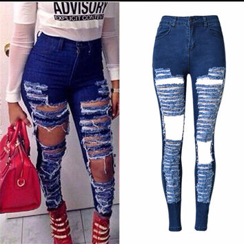 Women Hole Stretch Cotton Ripped Jeans