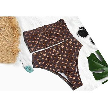 LV Louis Vuitton Fashion Women Off Shoulder Strapless High Waist Two Piece Bikini Swimsuit Bathing Coffee