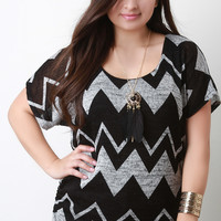 Zig Zag Knitted Necklace Short Sleeves Top