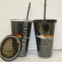Pink Floyd Dark Side of the Moon Carnival Acrylic Travel Cup with Lid and Straw (Set of 2 18oz)