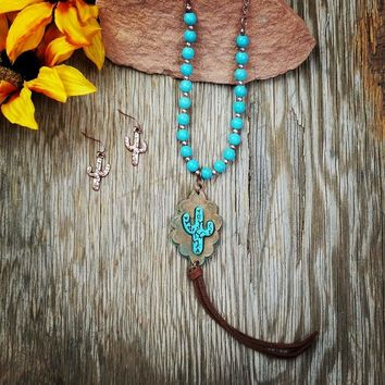 Long Turquoise Leather Cactus Necklace
