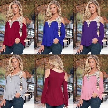 5xl Summer 2018 Woman Sexy T-shirt V-Neck Long Sleeve T-shirts Lace Off Shoulder Shirt Loose Plus Size Women Clothes Summer Tops