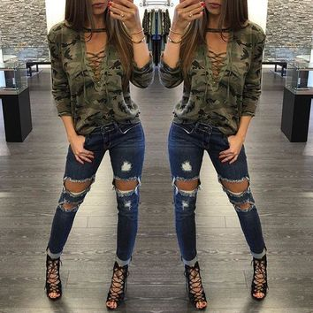 Women's Fashion Camouflage Hollow Out Long Sleeve T-shirts [10389933261]