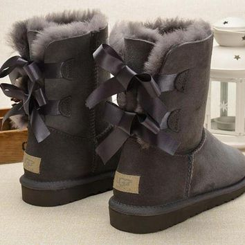 UGG Fashion Women Fur Bow Wool Snow Boots In Tube Boots Shoes Grey