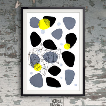Monochrome Grey Black Abstract With a Pop of Yellow Geometric Art, A4 print, Handpainted, Ink Pen Triangles, Minimalist Art