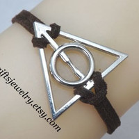 Deathly Hallows Bracelet,harry potter jewelry,hipster jewelry,harry potter charm,Friendship gift,Personalized