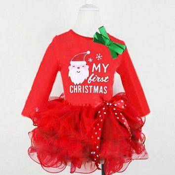 Girls Red Princess Baby Toddlers Kids Tutu Dress Infant Long Sleeve Cartoon Pattern Children Party Costumes for 2-6 Years kids