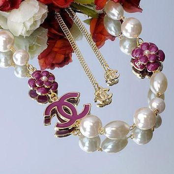 Chanel Woman Fashion Logo Pearls Flower Necklace