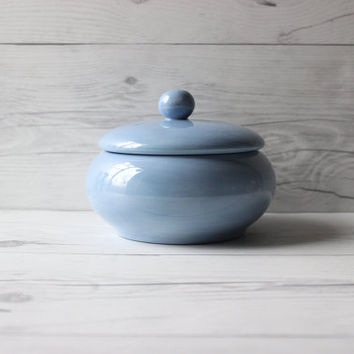 Vintage Light Blue Painted Decorative Ceramic Trinket or Jewelry Jar with Lid | Country Cottage Minimalist