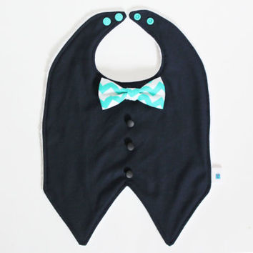 Tuxedo Bib, Bow tie, Vest, Navy, Midnight blue, Aqua, Suit up, Stylish, Chic fashion boy, Cute baby shower gift, Drooling or Feeding Bib