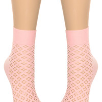 Pretty in Pink Perforated Ankle Socks