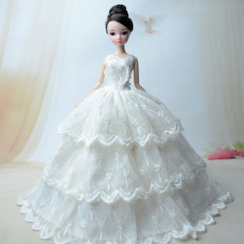 NK One Pcs 2016 Princess Wedding Dress Noble Party Gown For Barbie Doll Fashion Design Outfit Best Gift For Girl' Doll 011F