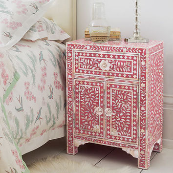 Raspberry & Mother of Pearl Inlay Bedroom Cabinet, Bedside Tables | Graham and Green Bedroom