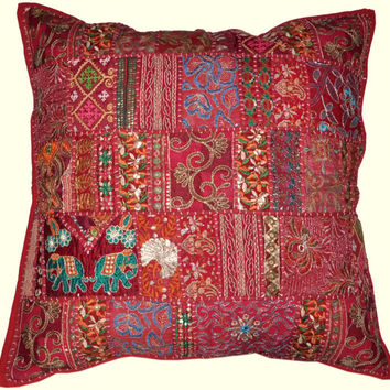 20X20 Decorative Tribal accent throw pillow, Patchwork Handmade Indian Ethnic cottage Pillow, floor pillow  outdoors decorative throw pillow