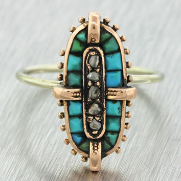 1880s Antique Victorian 14k Yellow Rose Gold Turquoise Rose Cut Diamond Ring