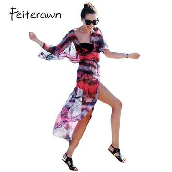 DKLW8 Feiterawn 2017 Women Sexy Beach Swimwear 3/4 Sleeve Button and Slit Front Open Tie-dye Print Chiffon Dress Cover Up DL42157