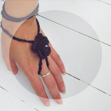 Boho Chic Black Rose Slave Bracelet with Swarovski Crystal Crochet Organic Soy Yarn Bride Summer Hand Chain Jewelry - FREE SHIPPING
