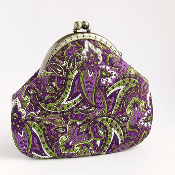 Purple Purse Green Paisley, Lilac Cotton Fabric with Kisslock