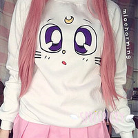 Sailor Moon Artemis Face Fleece Jumper Sweater SP141190