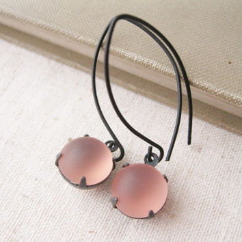 Blush Pink Earrings. Black Brass. Modern Style. Vintage Jewels. Long Sexy Earrings. Statement Earrings. Wedding. Bridal