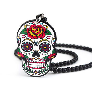 Suger Skull Ho Car Auto Fashion Pendant JDM Interior Rear View Mirror Ornament Hanging Dangle Charm Acrylic Duplex Car-Styling