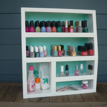 NEW (130 Bottles) Handcrafted Wood Table Top Nail Polish Organizer