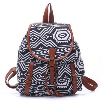 LMFON1O Day First Black College Aztec School Bag Travel Bag Canvas Lightweight College Backpack