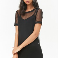 Sheer Mesh T-Shirt Dress