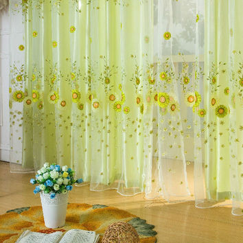 1 PC Sheer Curtain Panel Door Window Scarf Floral Curtain Drape Panel Voile Valances voile curtains Tulle on the window 1m*2m