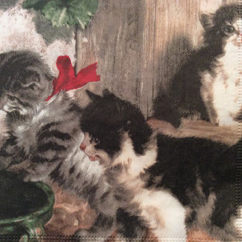 Pack of four 3 ply decoupage paper napkins vintage Victorian cats