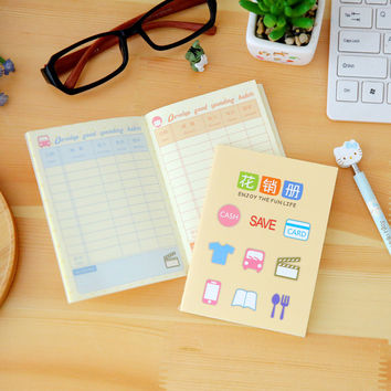 Korean stationery Cute mini notebook planner book family financial accounting balance hand Good Habit school supplies