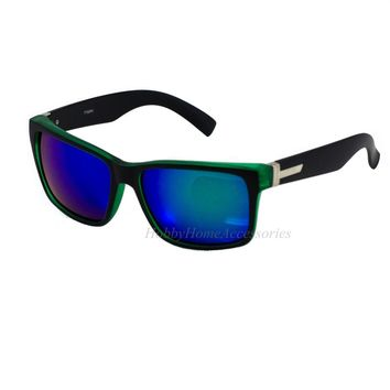 2-PAIR Retro CLASSIC Large Men Matte Square Green/Black Frame Blue Mirror Lens