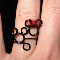 Mickey and Minnie Wire Wrapped Adjustable Ring