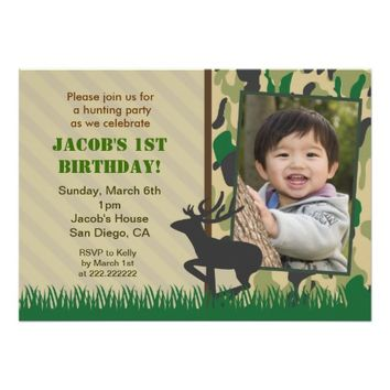 Camo Hunting Photo Birthday invitations