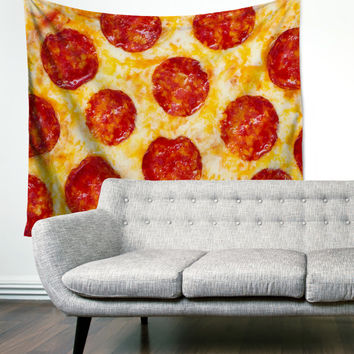 Pepperoni Pizza Overload Gypsy Unique Dorm Home Decor Wall Art Tapestry